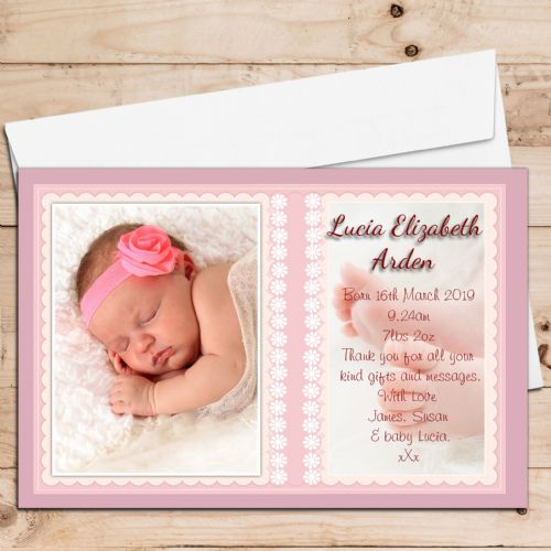 10 Personalised Baby Girl Birth Announcement Thank You PHOTO Cards N76